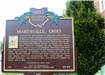 Photo of Marysville's Historical Marker in front of City Hall