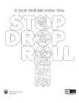 Stop Drop Roll Coloring Page