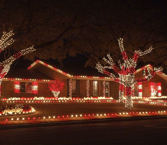 Photo of Home Decorated with Lights