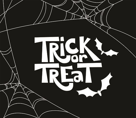 Image of Trick or Treat in white text on black background
