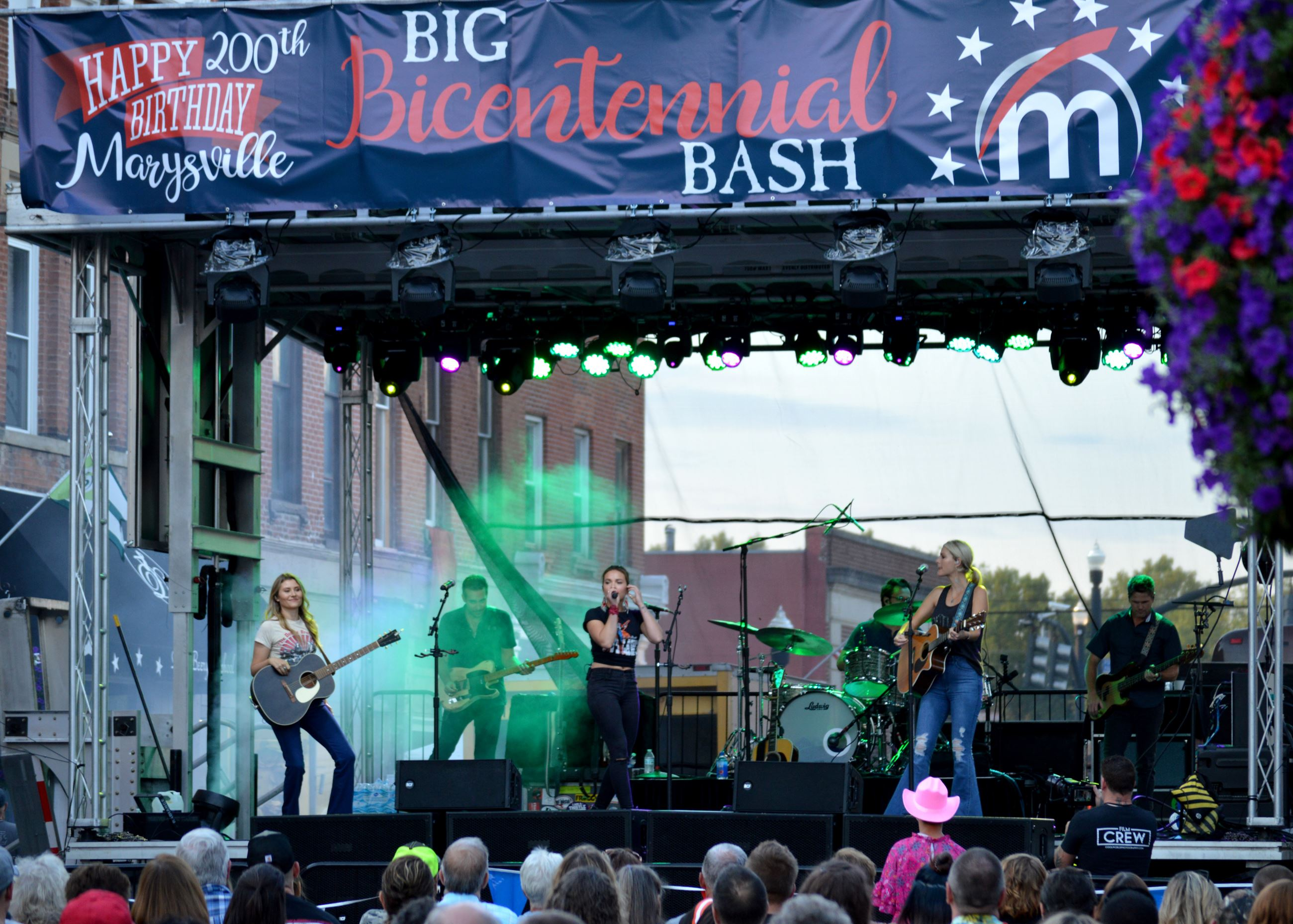 Runaway June musical group performing on the Bicentennial Stage