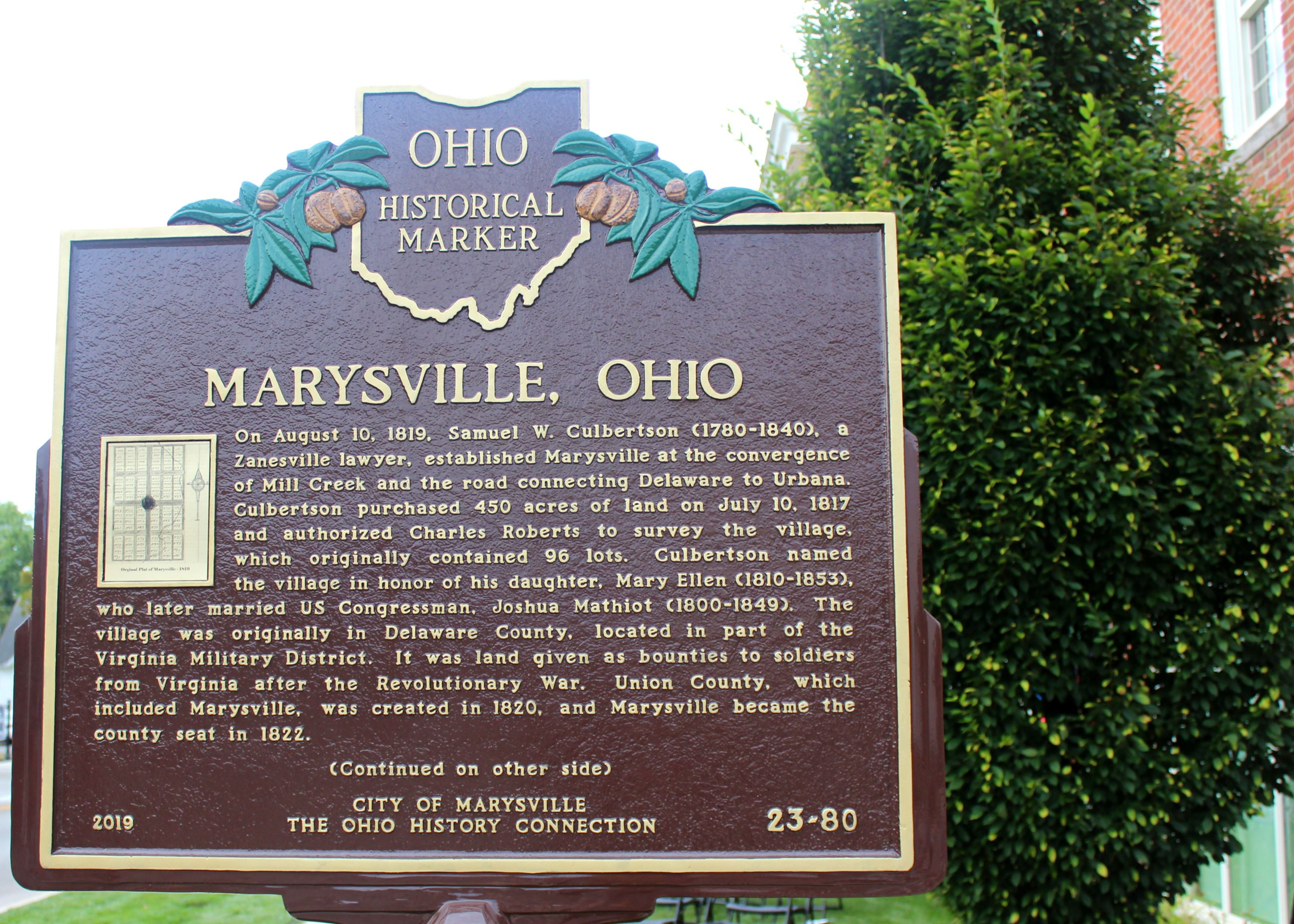 Photo of Marysville&#39s Historical Marker in front of City Hall