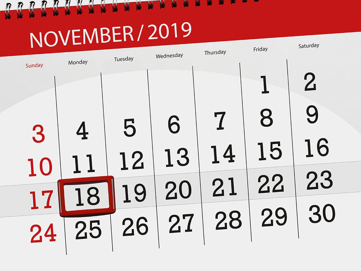 Image of November 2019 calendar with red box around 18th