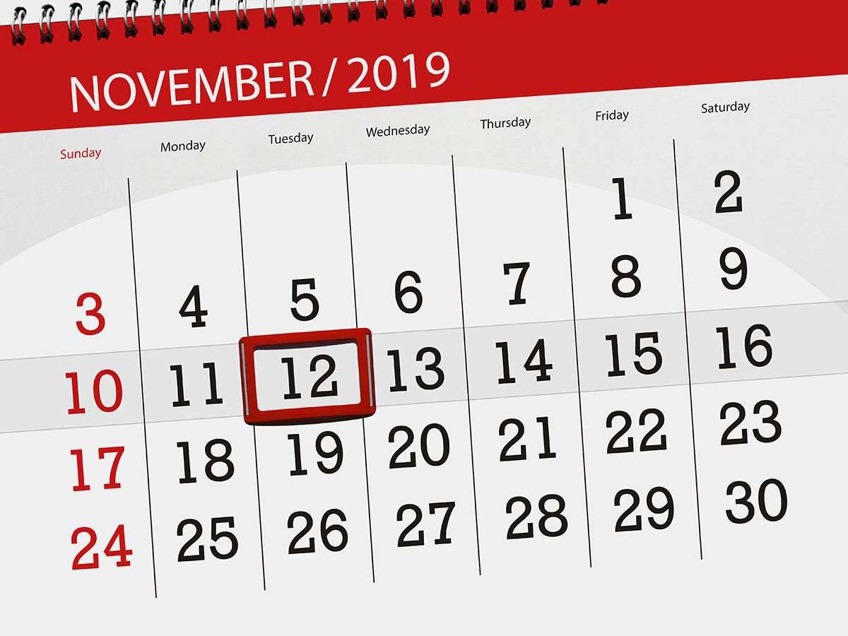 Image of November 2019 calendar with red box around 12th