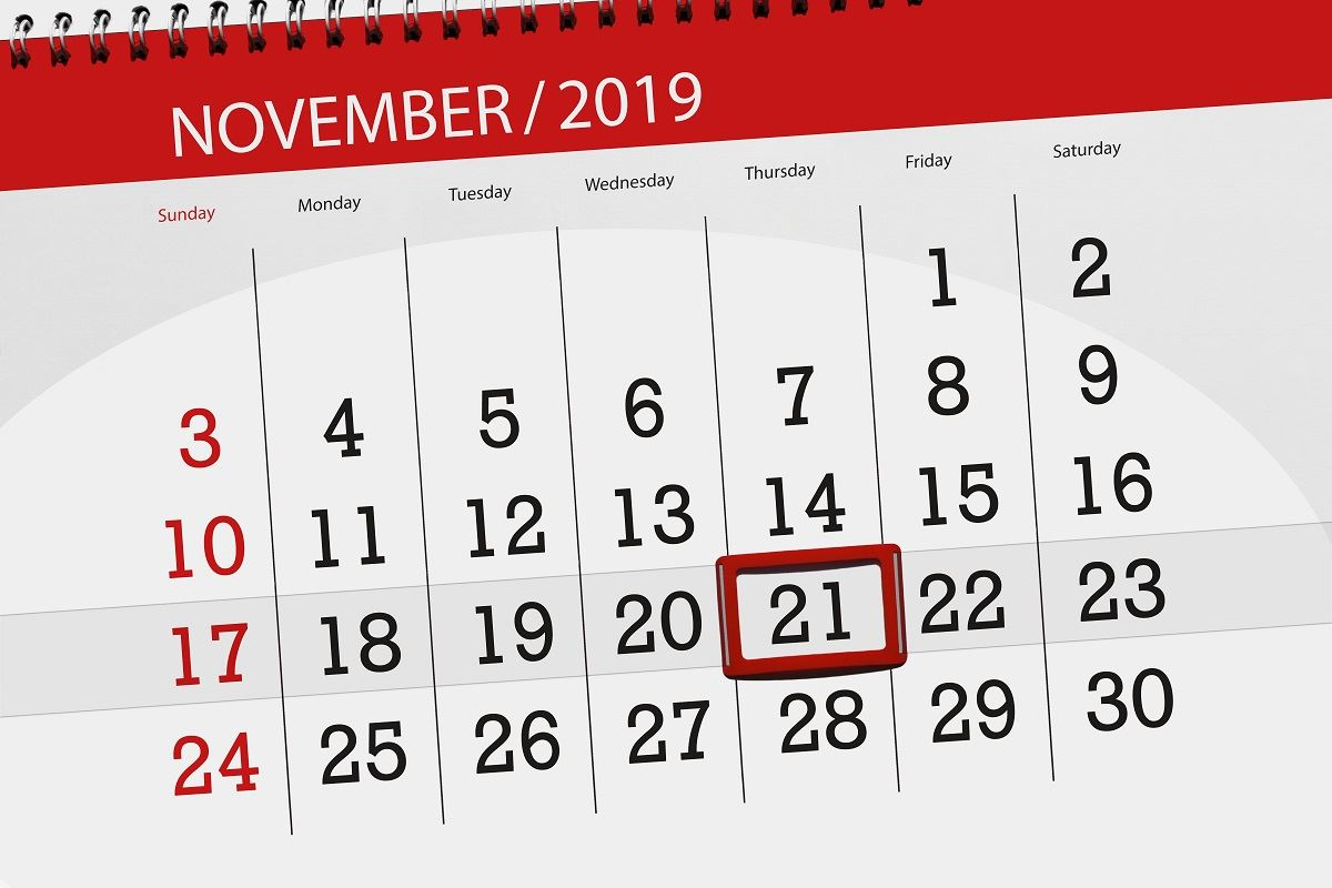 Image of November 2019 calendar with red box around 21st