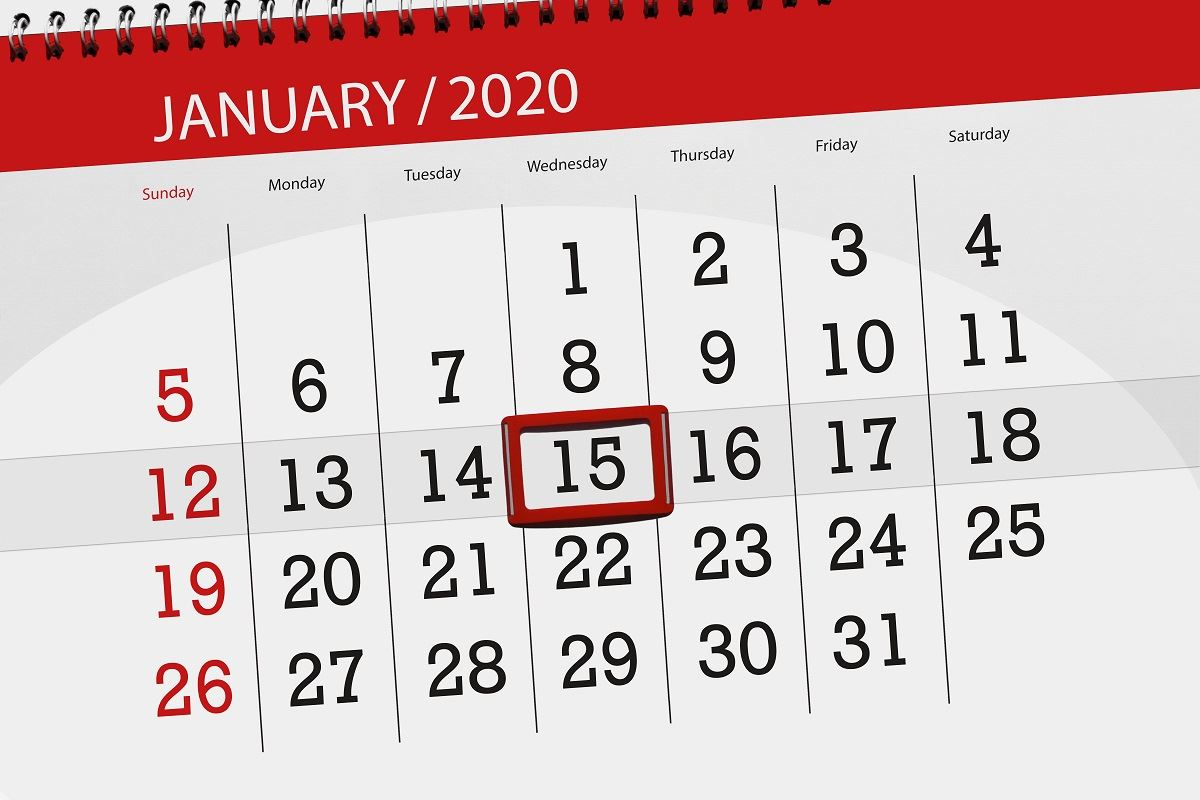 Image of 2020 calendar with Jan 15th circled