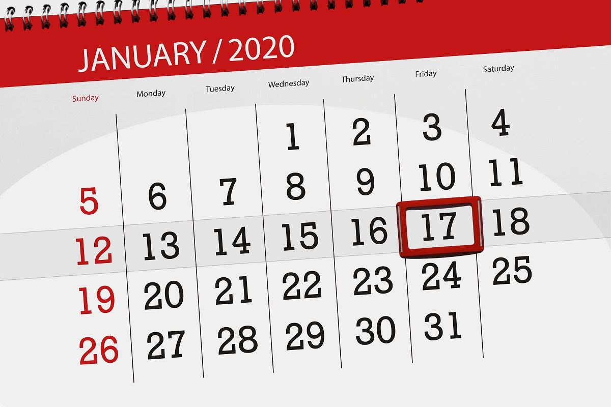 Image of 2020 calendar with Jan 17th circled