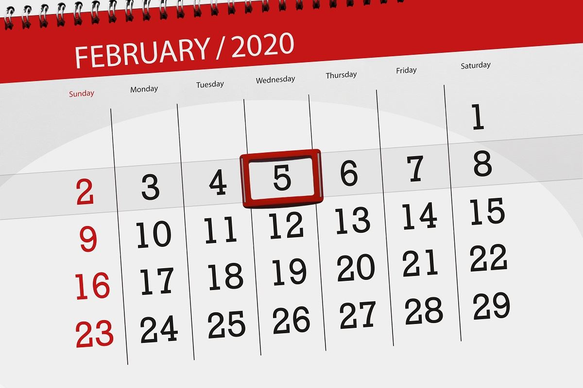 Image of 2020 calendar with Jan 5th circled