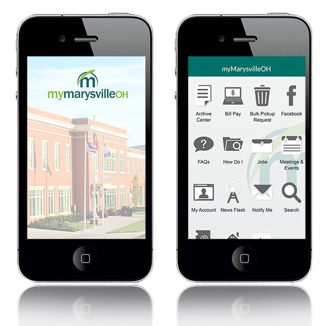 Image of two cell phones with Marysville mobile app splash screen and app menu displayed on the phon