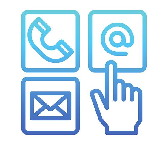 Image of telephone receiver, envelope, and @ symbol with hand pointing to @ symbol