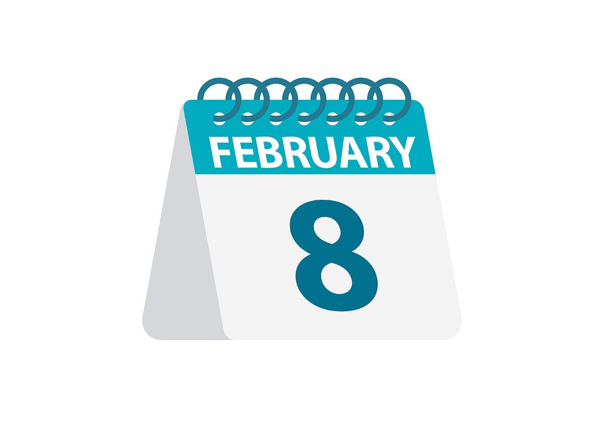February 8 in text on spiral bound calendar image