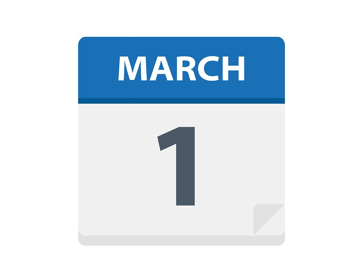 March 1 in text on calendar image