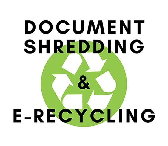 Document Shredding & E Recycling in text on green recycle image