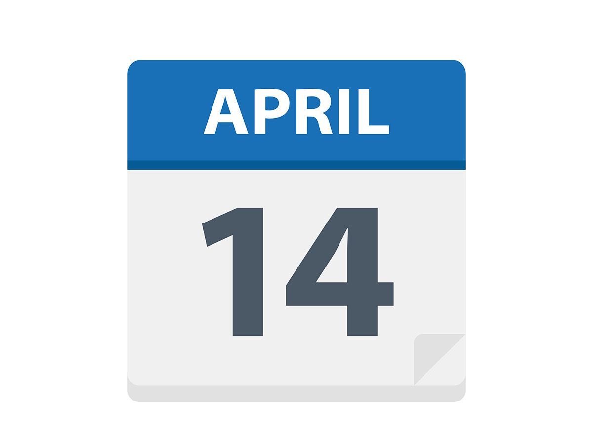 April 14 in text on calendar image