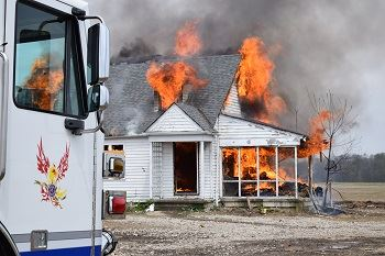 Image of fire in house for training purposes